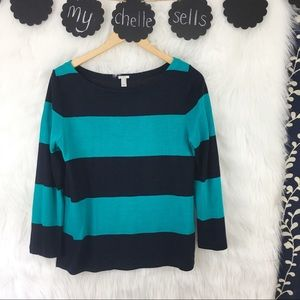 J. Crew Rugby Stripe Linen Blend 3/4 Sleeve Top-O5